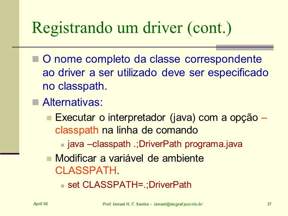 Registrando um driver (cont.)