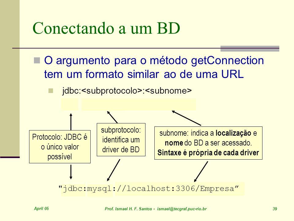 Conectando a um BD O argumento para o método getConnection tem um formato similar ao de uma URL. jdbc:<subprotocolo>:<subnome>