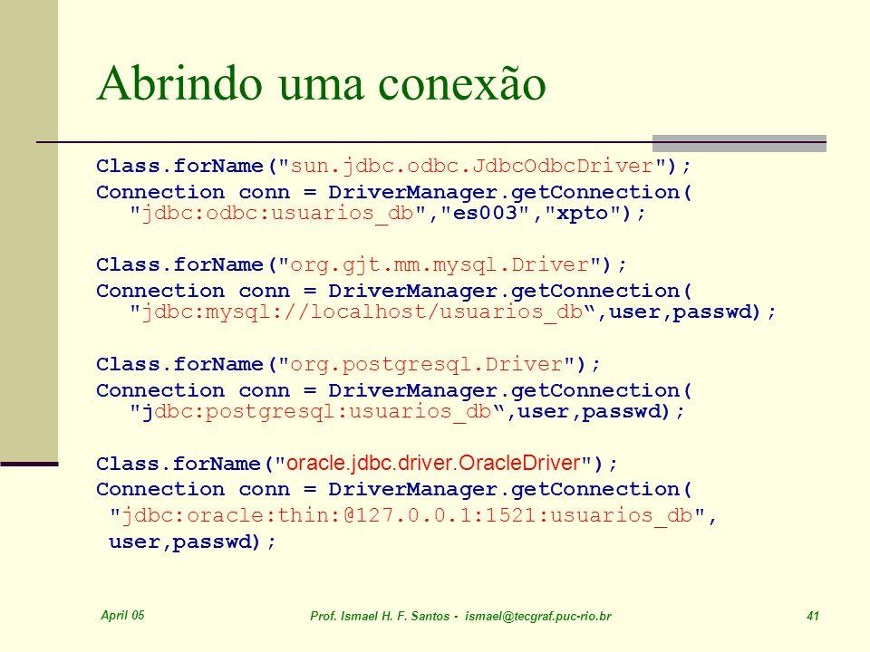 Abrindo uma conexão Class.forName( sun.jdbc.odbc.JdbcOdbcDriver );