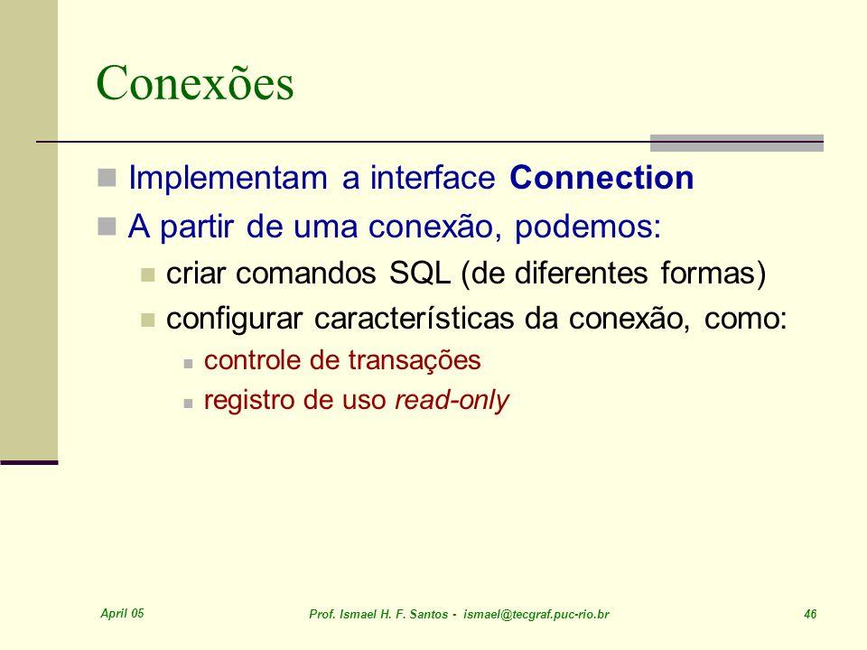 Conexões Implementam a interface Connection