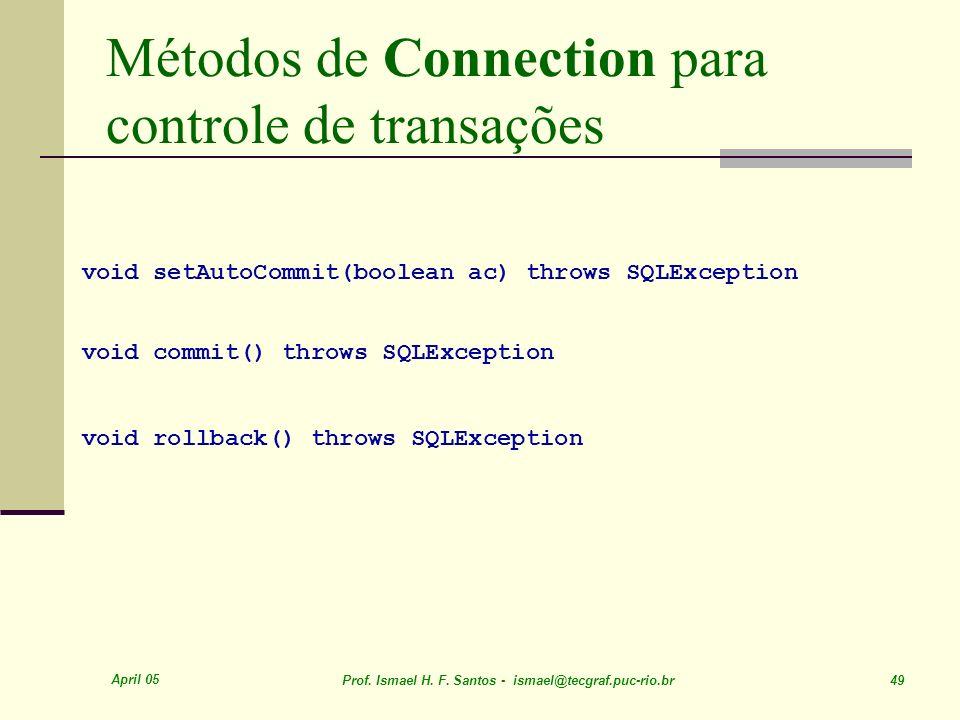 Métodos de Connection para controle de transações