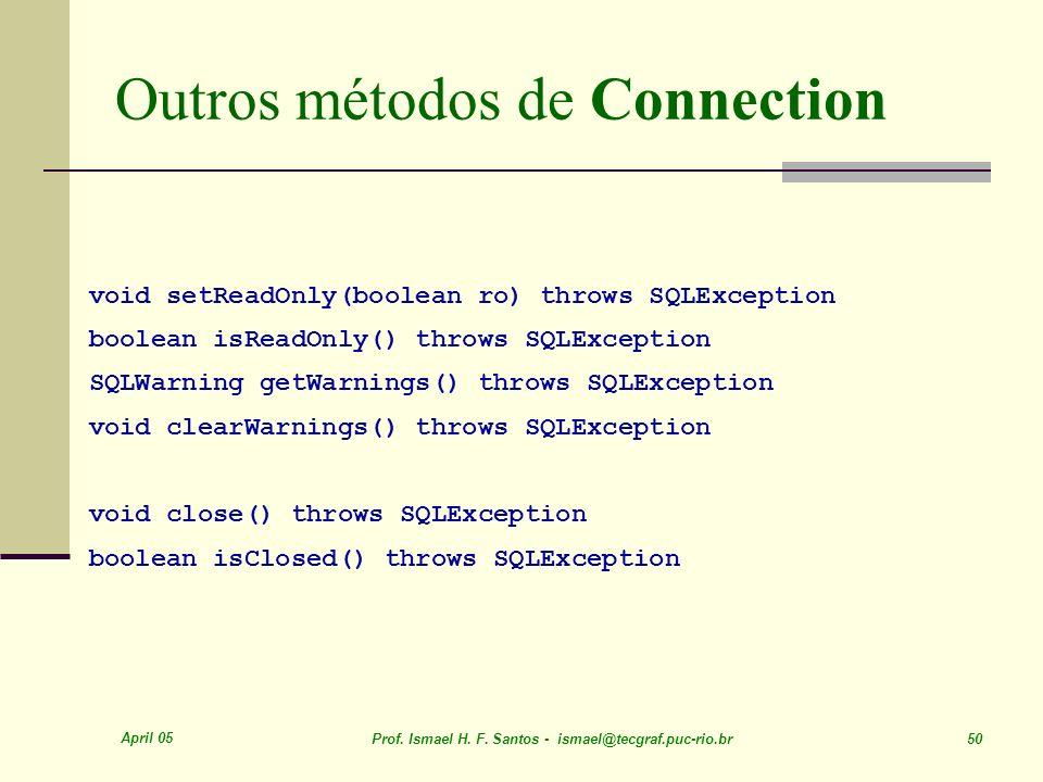 Outros métodos de Connection