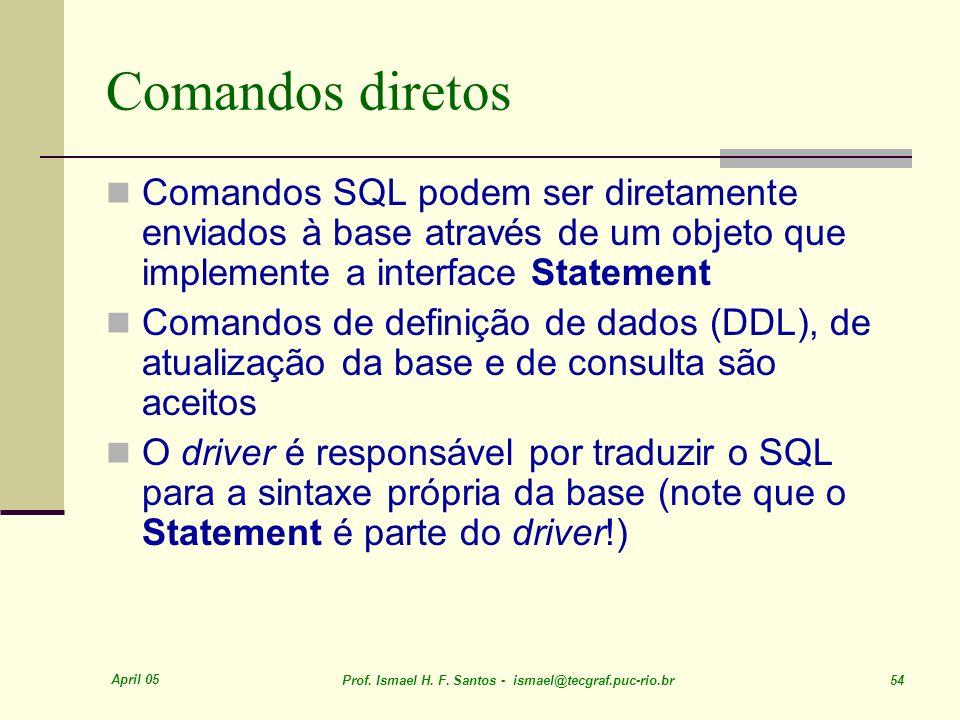 Comandos diretos Comandos SQL podem ser diretamente enviados à base através de um objeto que implemente a interface Statement.