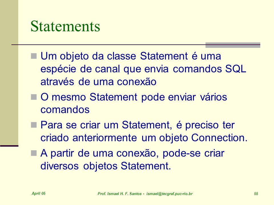 Statements Um objeto da classe Statement é uma espécie de canal que envia comandos SQL através de uma conexão.