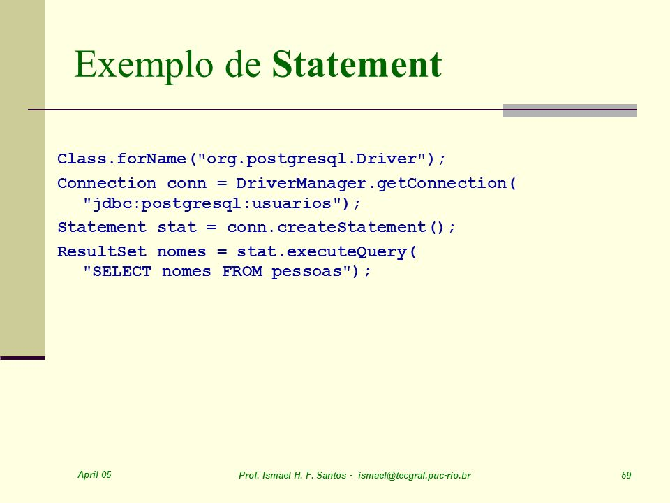Exemplo de Statement Class.forName( org.postgresql.Driver );