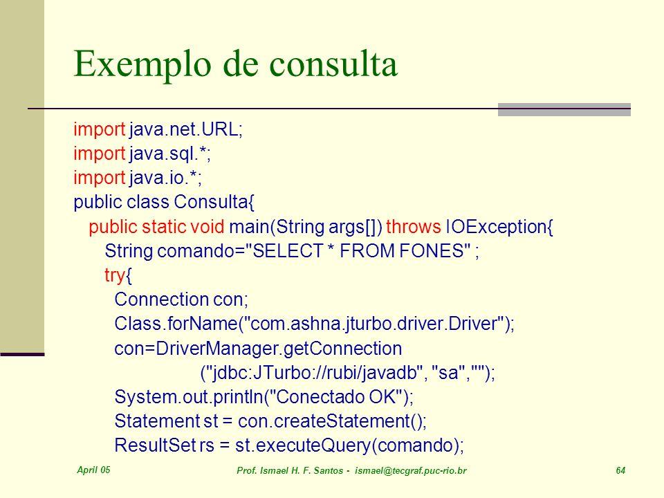 Exemplo de consulta import java.net.URL; import java.sql.*;