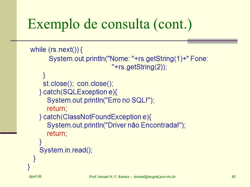 Exemplo de consulta (cont.)