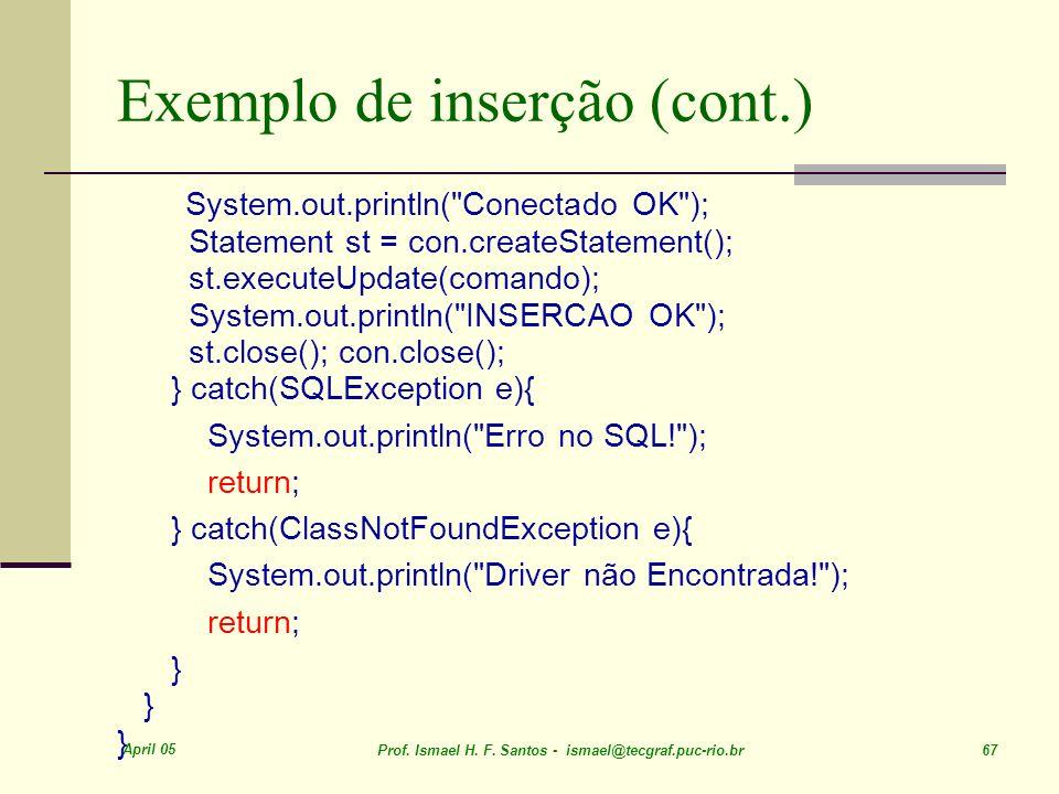 Exemplo de inserção (cont.)