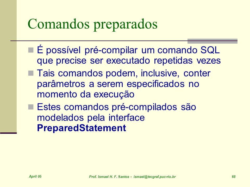 Comandos preparados É possível pré-compilar um comando SQL que precise ser executado repetidas vezes.