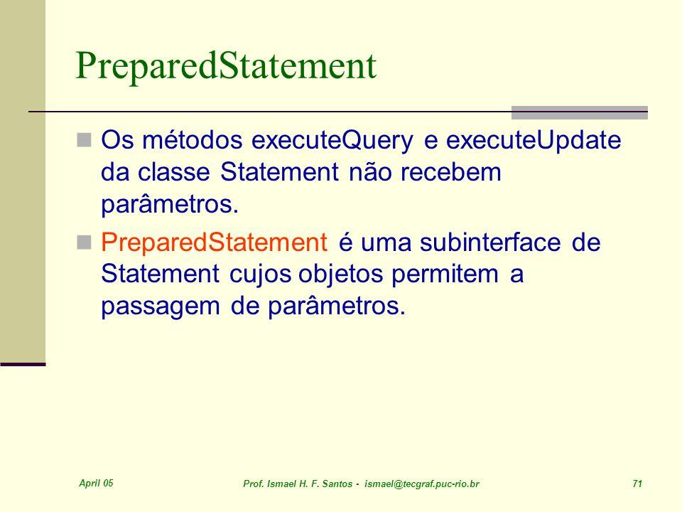 PreparedStatementOs métodos executeQuery e executeUpdate da classe Statement não recebem parâmetros.