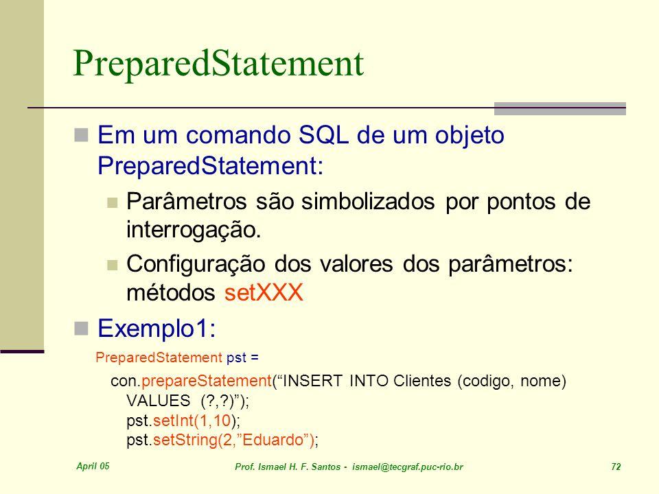 PreparedStatement Em um comando SQL de um objeto PreparedStatement:
