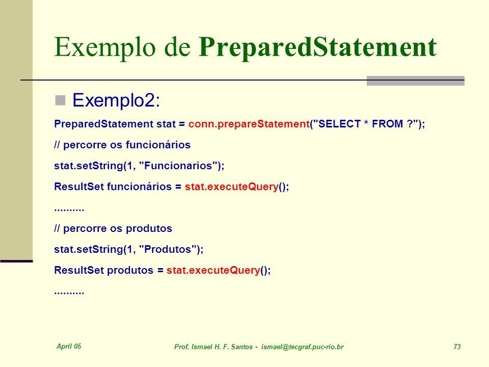 Exemplo de PreparedStatement