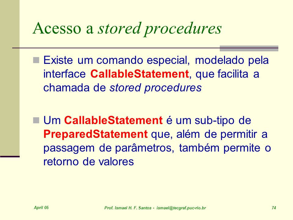 Acesso a stored procedures