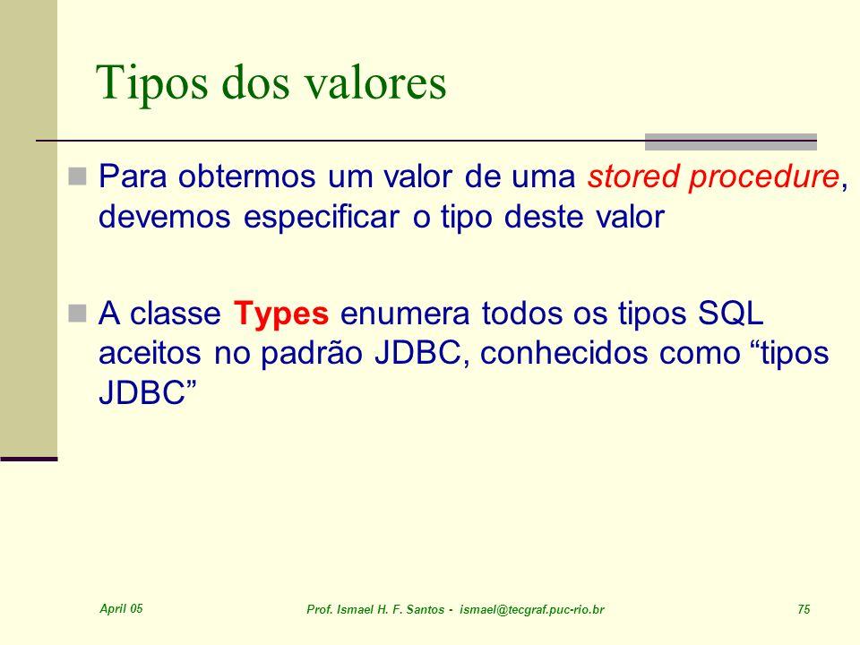 Tipos dos valoresPara obtermos um valor de uma stored procedure, devemos especificar o tipo deste valor.