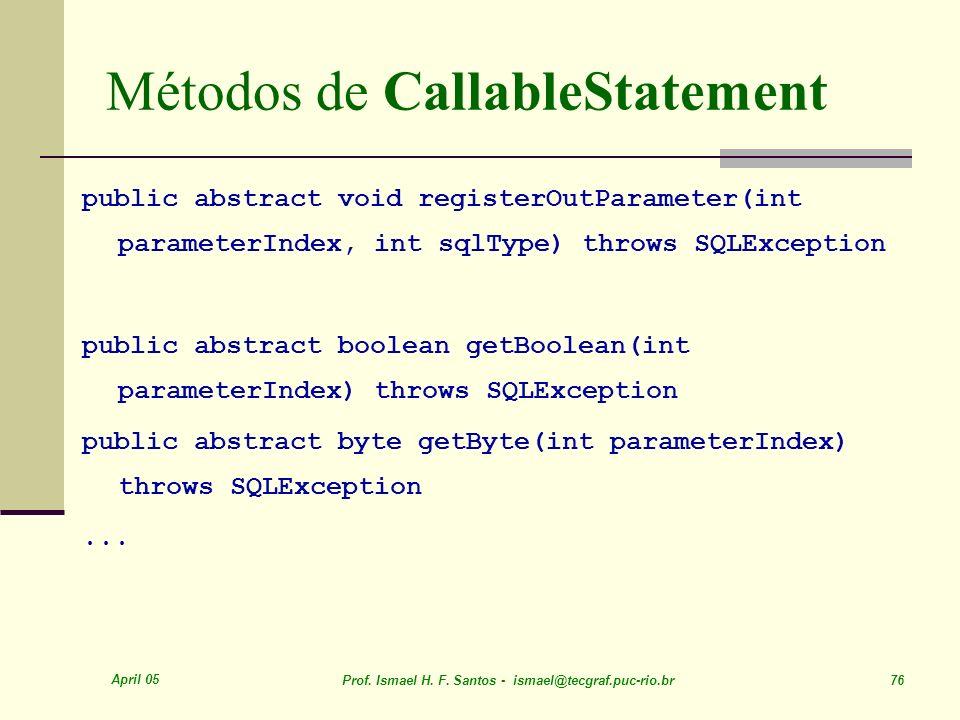 Métodos de CallableStatement