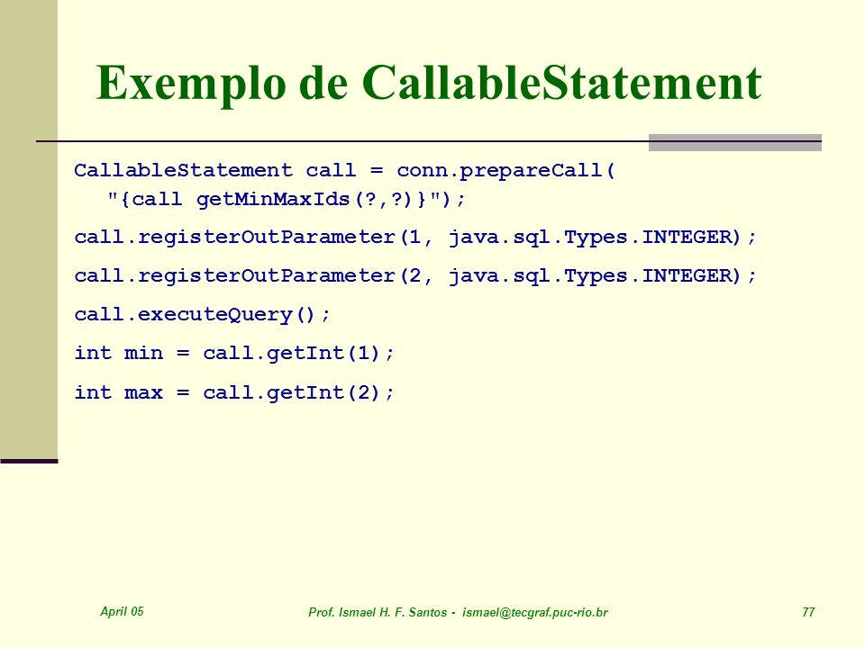 Exemplo de CallableStatement