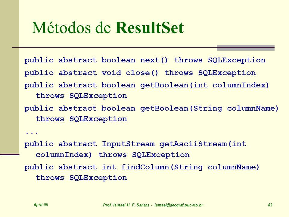 Métodos de ResultSet public abstract boolean next() throws SQLException. public abstract void close() throws SQLException.