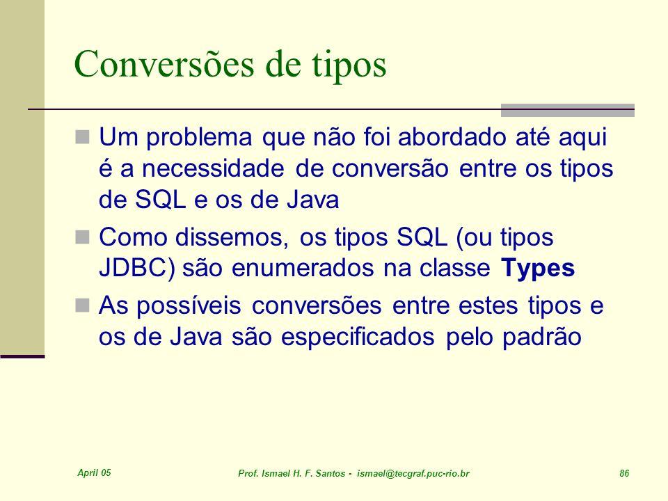 Conversões de tipos Um problema que não foi abordado até aqui é a necessidade de conversão entre os tipos de SQL e os de Java.