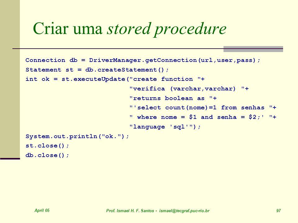 Criar uma stored procedure