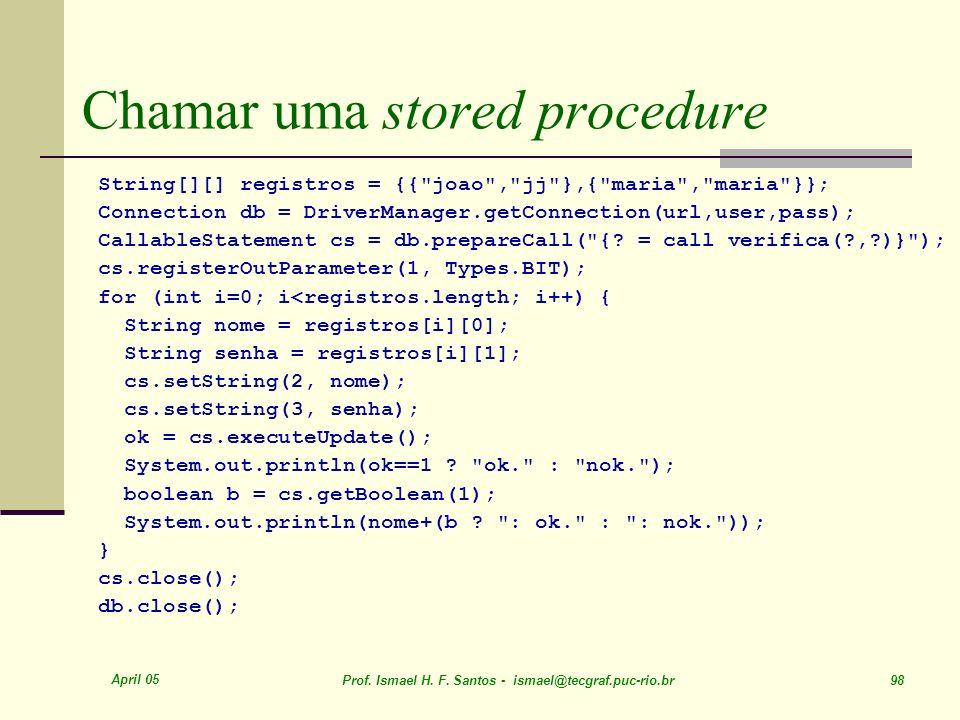 Chamar uma stored procedure