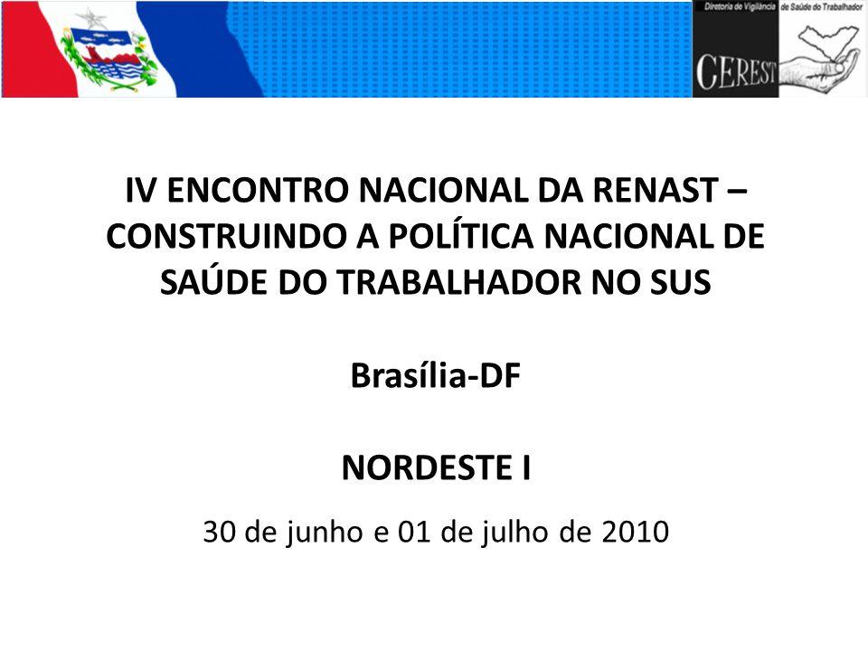 IV ENCONTRO NACIONAL DA RENAST – CONSTRUINDO A POLÍTICA NACIONAL DE SAÚDE DO TRABALHADOR NO SUS