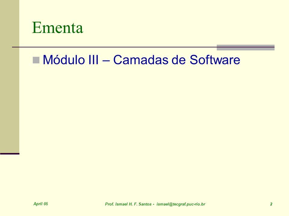 Ementa Módulo III – Camadas de Software April 05