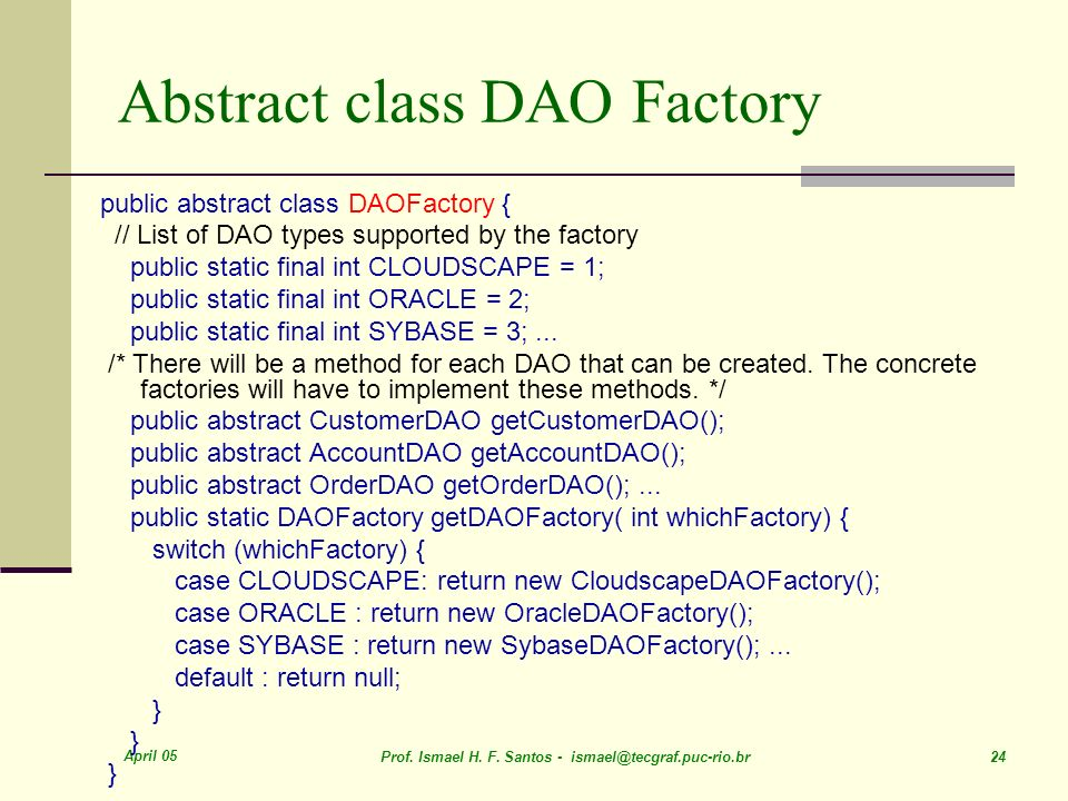 Abstract class DAO Factory