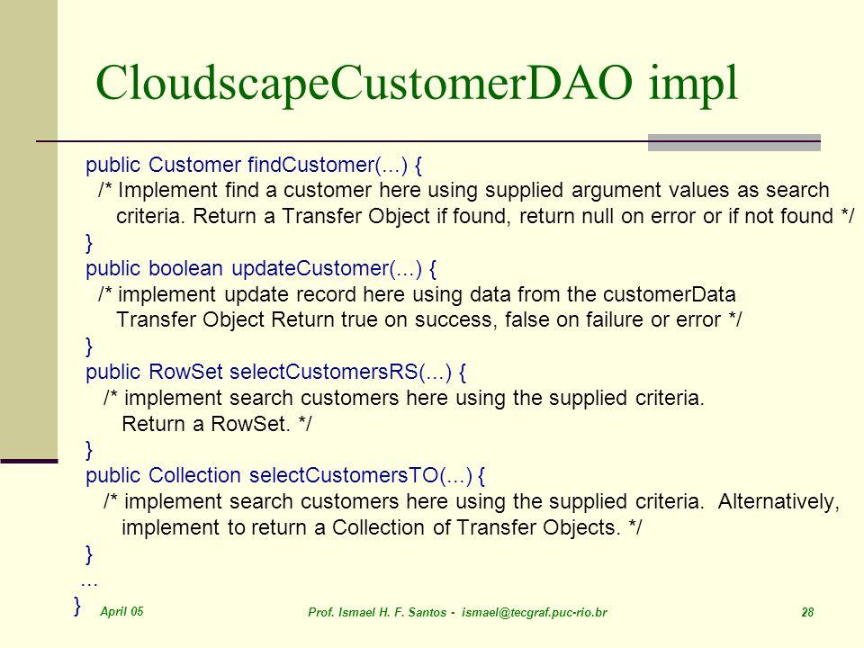 CloudscapeCustomerDAO impl
