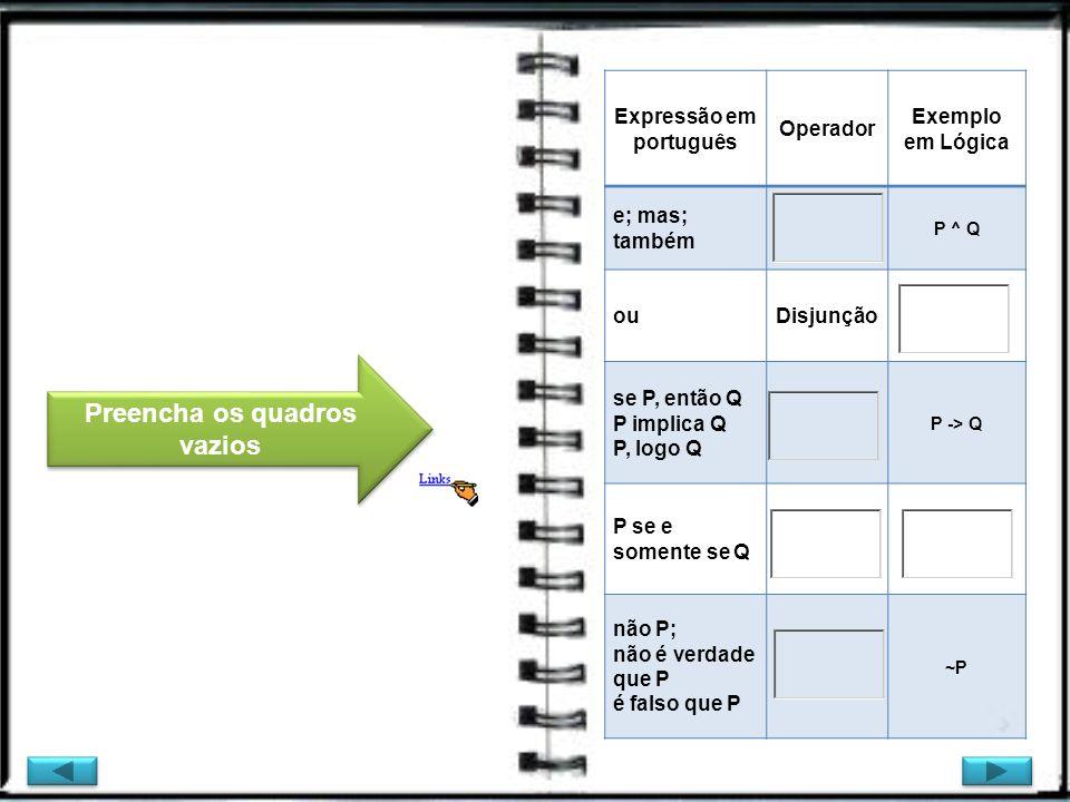 Expressão em português Preencha os quadros vazios