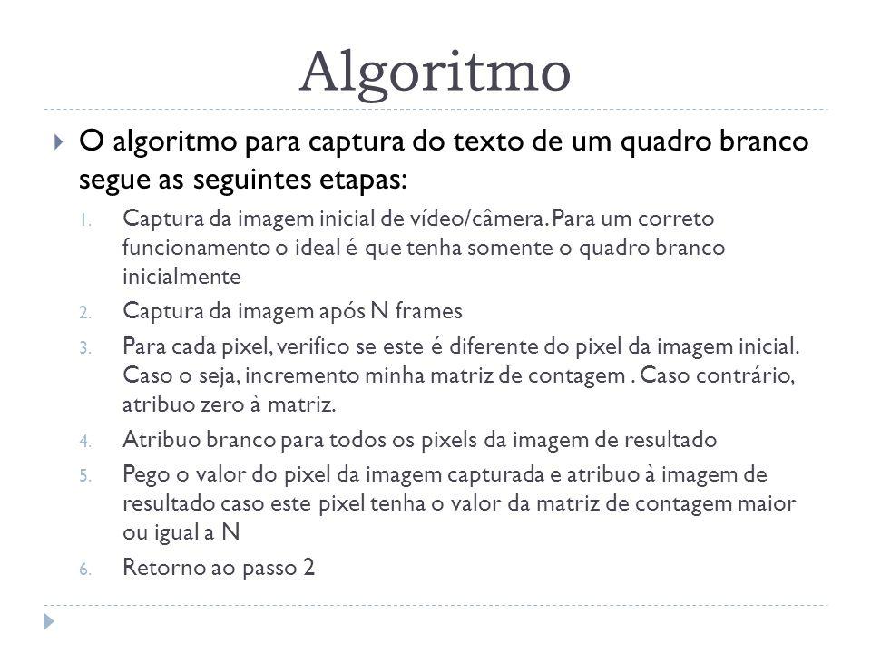 Algoritmo O algoritmo para captura do texto de um quadro branco segue as seguintes etapas: