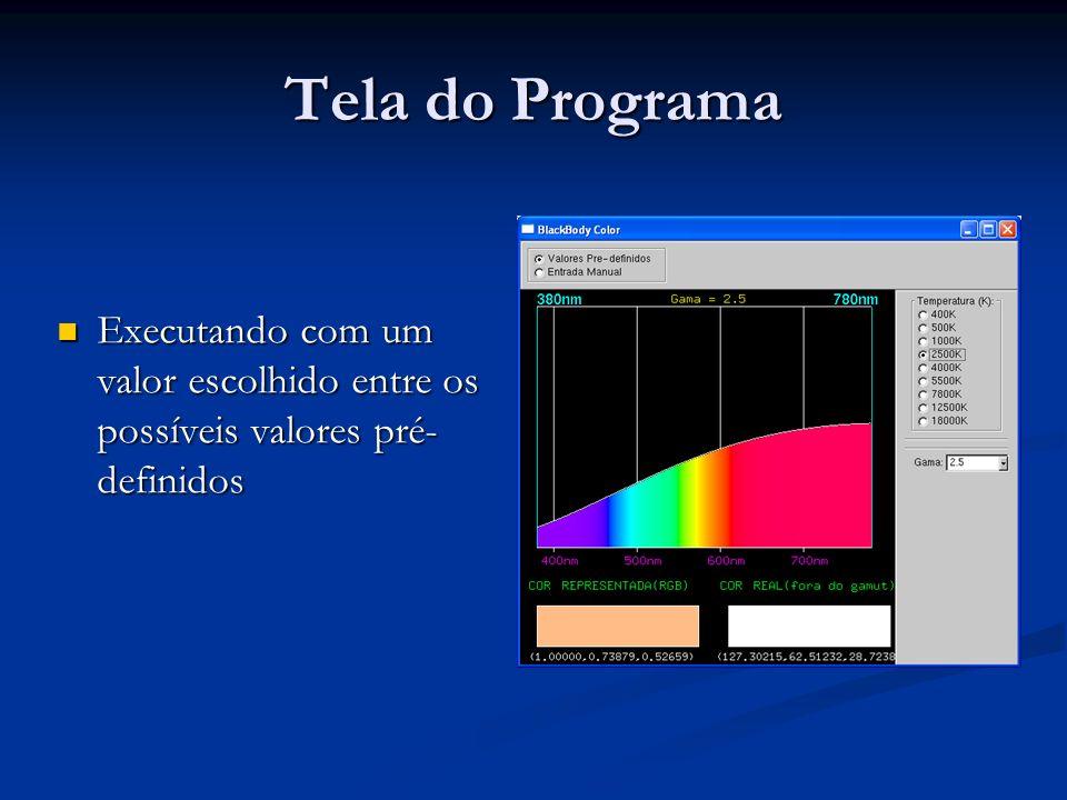 Tela do Programa Executando com um valor escolhido entre os possíveis valores pré-definidos