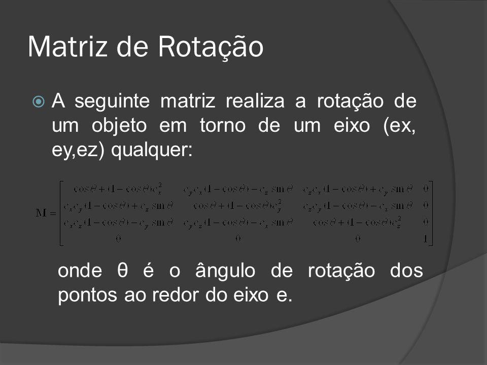 Matriz de Rotação A seguinte matriz realiza a rotação de um objeto em torno de um eixo (ex, ey,ez) qualquer:
