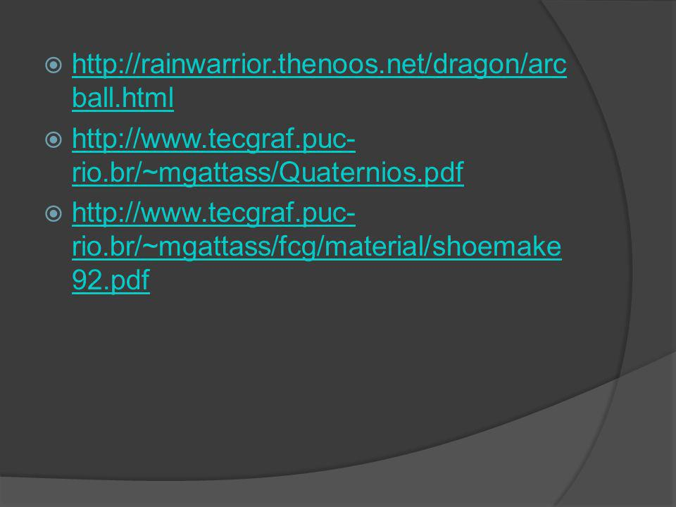 http://rainwarrior.thenoos.net/dragon/arcball.html http://www.tecgraf.puc-rio.br/~mgattass/Quaternios.pdf.