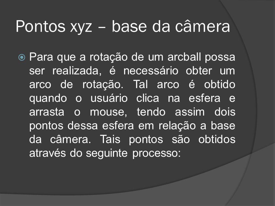 Pontos xyz – base da câmera