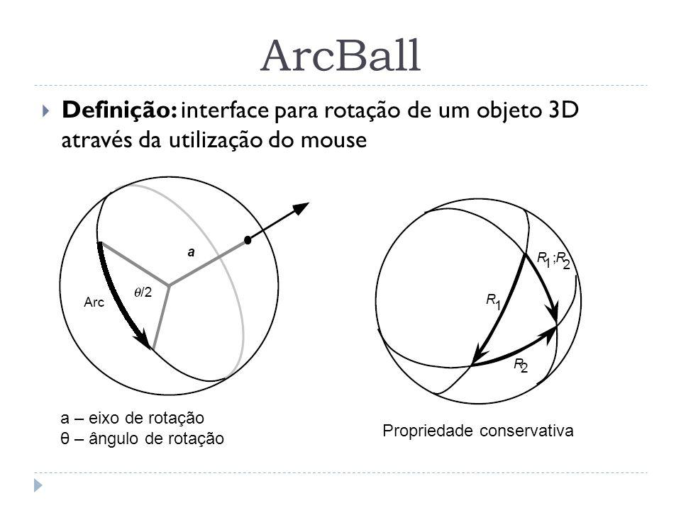 ArcBall Definição: interface para rotação de um objeto 3D através da utilização do mouse. a – eixo de rotação.