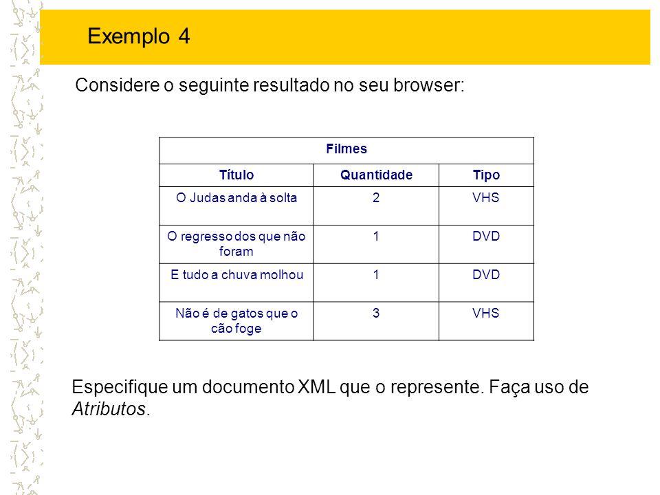 Exemplo 4 Considere o seguinte resultado no seu browser: Filmes. Título. Quantidade. Tipo. O Judas anda à solta.