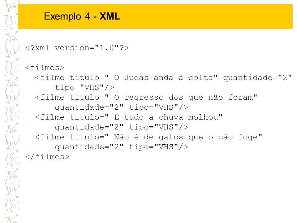 Exemplo 4 - XML < xml version= 1.0 > <filmes>