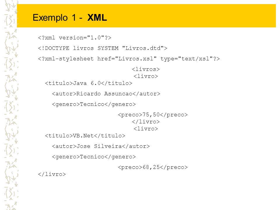 Exemplo 1 - XML < xml version= 1.0 >