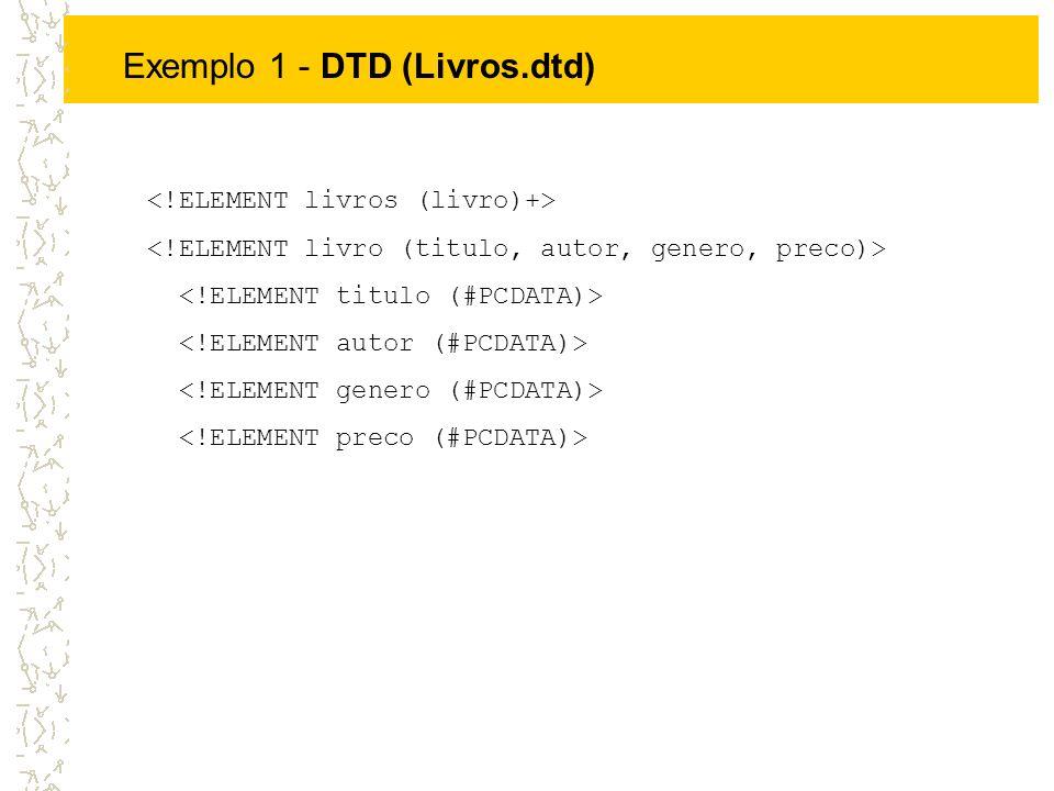Exemplo 1 - DTD (Livros.dtd)