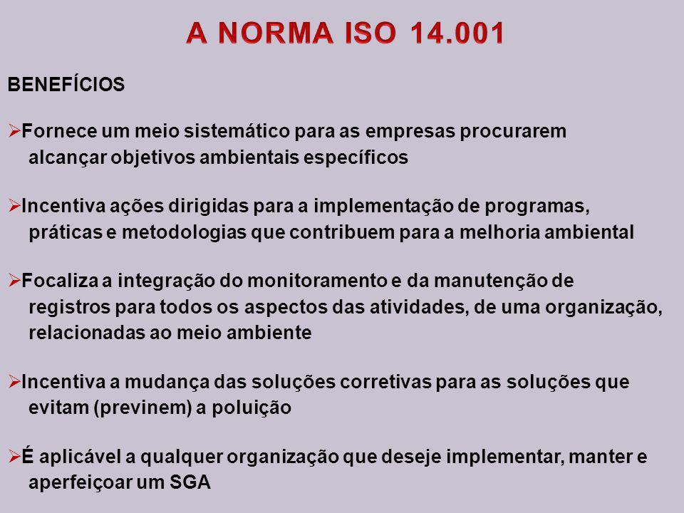 A NORMA ISO 14.001 BENEFÍCIOS. Fornece um meio sistemático para as empresas procurarem. alcançar objetivos ambientais específicos.