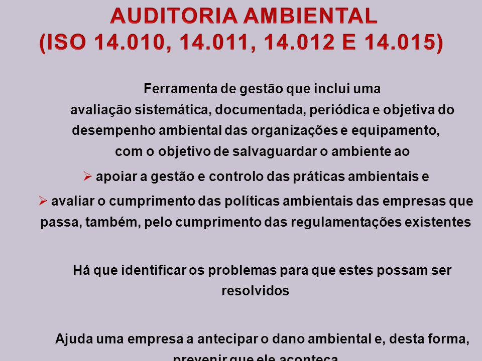 AUDITORIA AMBIENTAL (ISO 14.010, 14.011, 14.012 E 14.015)