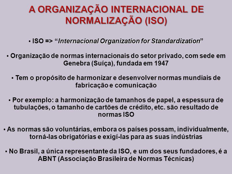 A ORGANIZAÇÃO INTERNACIONAL DE NORMALIZAÇÃO (ISO)