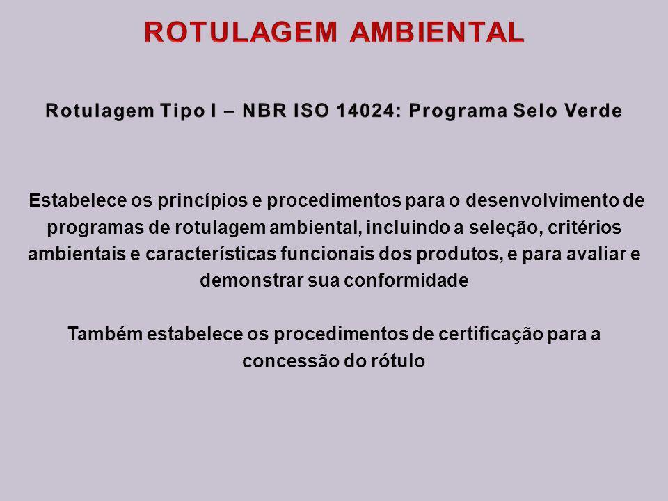 ROTULAGEM AMBIENTAL Rotulagem Tipo I – NBR ISO 14024: Programa Selo Verde.