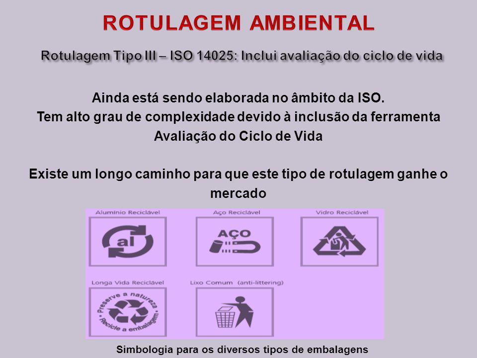 ROTULAGEM AMBIENTAL Rotulagem Tipo III – ISO 14025: Inclui avaliação do ciclo de vida. Ainda está sendo elaborada no âmbito da ISO.