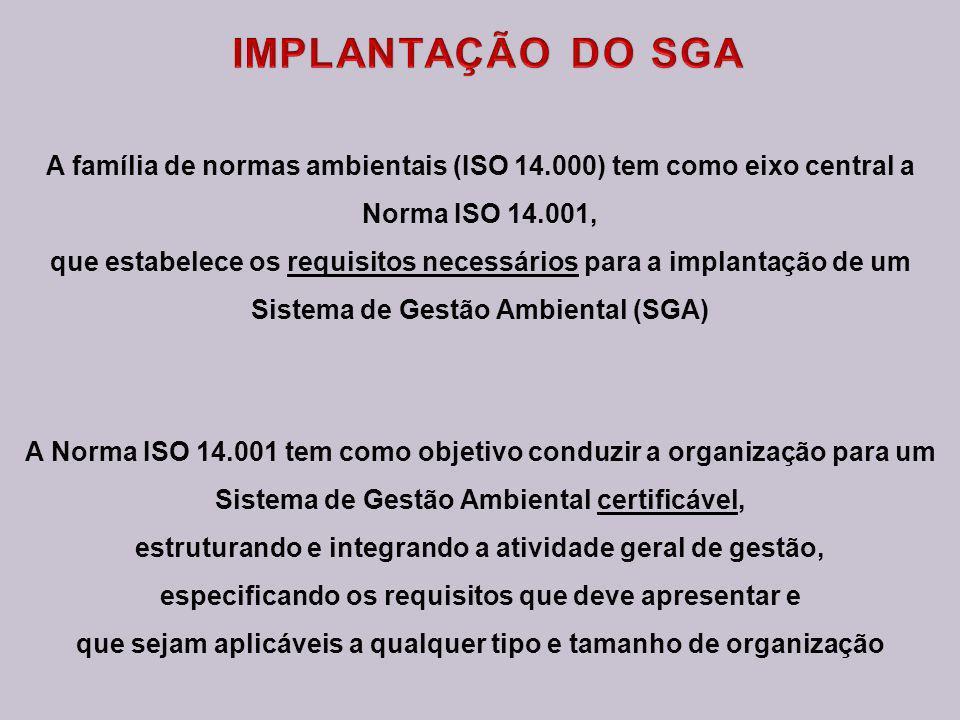 IMPLANTAÇÃO DO SGA A família de normas ambientais (ISO 14.000) tem como eixo central a. Norma ISO 14.001,