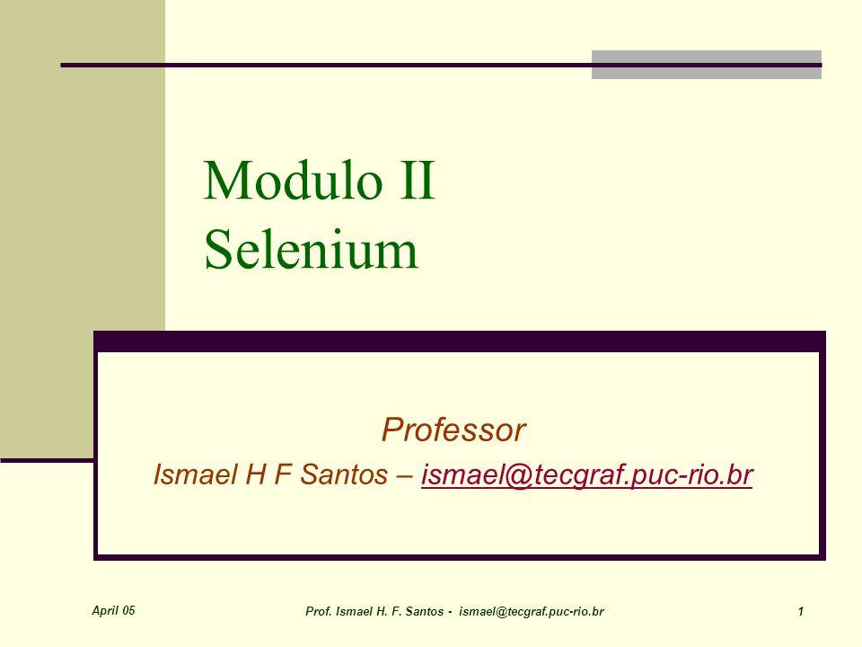 Professor Ismael H F Santos – ismael@tecgraf.puc-rio.br