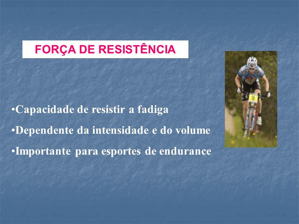 FORÇA DE RESISTÊNCIA Capacidade de resistir a fadiga.