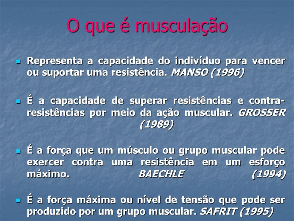 O que é musculação Representa a capacidade do indivíduo para vencer ou suportar uma resistência. MANSO (1996)