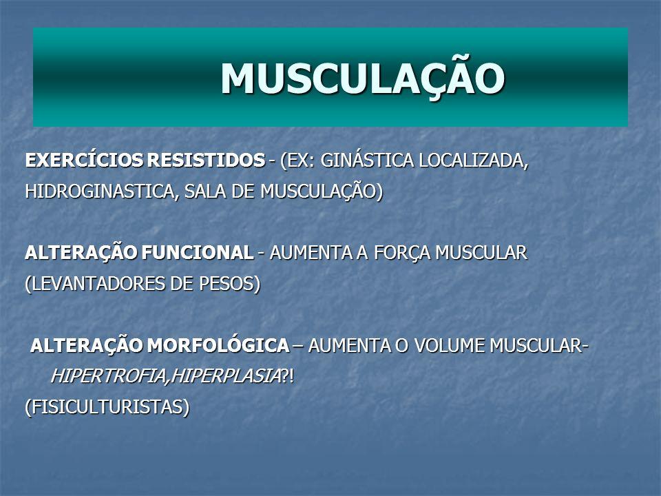 MUSCULAÇÃO EXERCÍCIOS RESISTIDOS - (EX: GINÁSTICA LOCALIZADA,