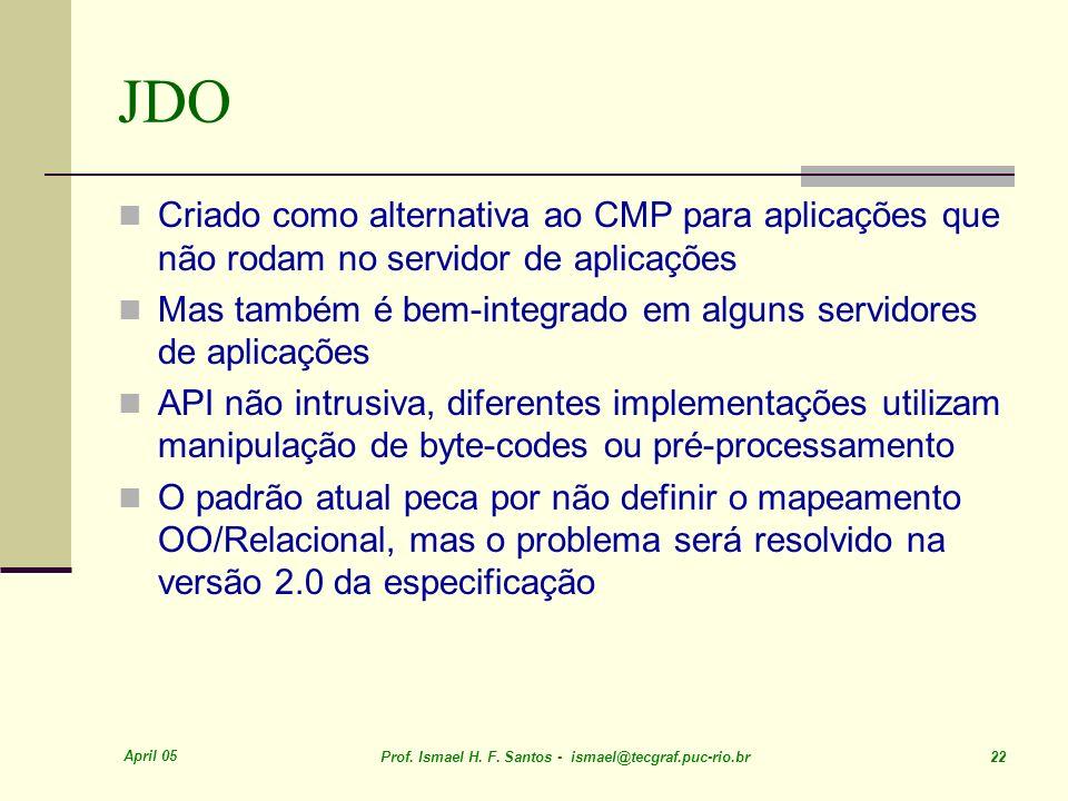 JDO Criado como alternativa ao CMP para aplicações que não rodam no servidor de aplicações.